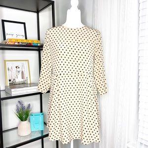 Madewell Silk Polka Dot 3/4 Sleeve Mini Dress Smal